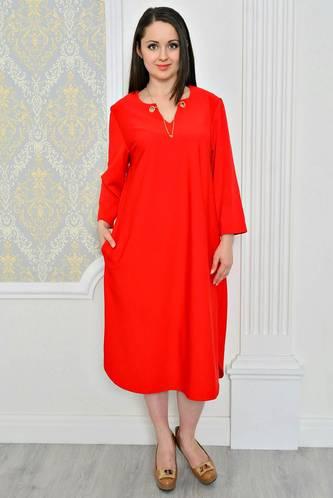 Платье длинное зимнее красное Р0488