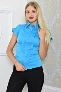 Рубашка синяя с коротким рукавом Т1173