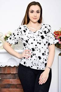 Блуза белая с коротким рукавом Р6954