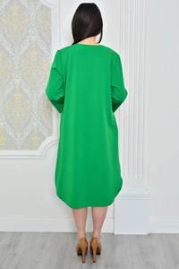 Платье длинное зимнее зеленое Р0489