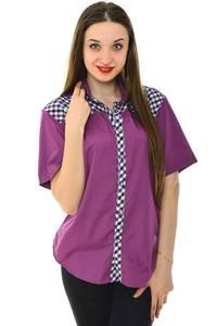 Рубашка однотонная с принтом с коротким рукавом Н6788