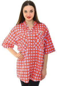 Рубашка красная в клетку с коротким рукавом Н6789