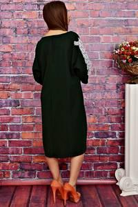 Платье длинное черное с кружевом Т4243