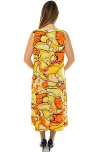 Платье длинное с принтом желтое Н1959