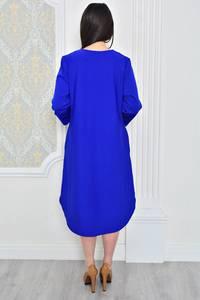Платье длинное зимнее синее Р0493