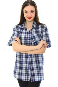 Рубашка синяя в клетку с коротким рукавом Н6792