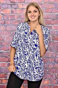 Рубашка удлиненная белая с принтом Т5951
