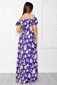 Платье длинное с принтом с открытыми плечами Т1829