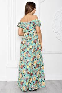 Платье длинное с принтом с открытыми плечами Т1830