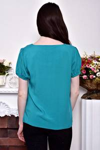 Блуза голубая с коротким рукавом Р8872