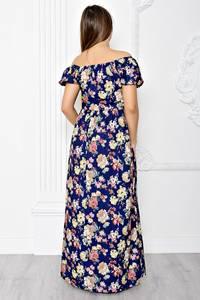 Платье длинное с принтом с открытыми плечами Т1831