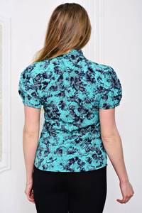 Блуза голубая с цветочным принтом Р3587