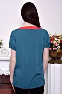 Блуза синяя с коротким рукавом Р8873