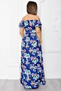 Платье длинное с принтом с открытыми плечами Т1832