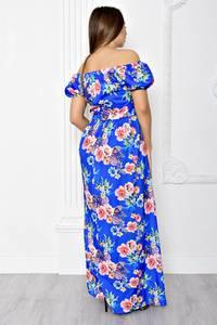 Платье длинное с принтом с открытыми плечами Т1833