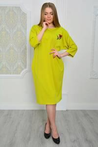 Платье длинное однотонное желтое Р0670