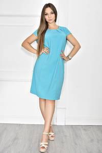 Платье короткое голубое с коротким рукавом Т6784