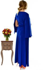 Платье длинное синее классическое П2907