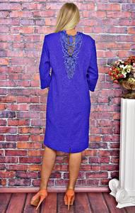 Платье короткое деловое с кружевом Т5885