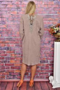 Платье короткое деловое с кружевом Т5886