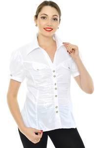 Рубашка белая прозрачная с коротким рукавом Н8332