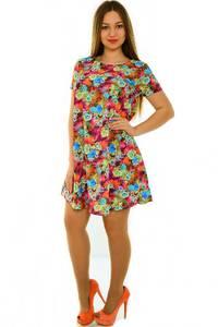 Платье-туника короткое с коротким рукавом летнее Н3674