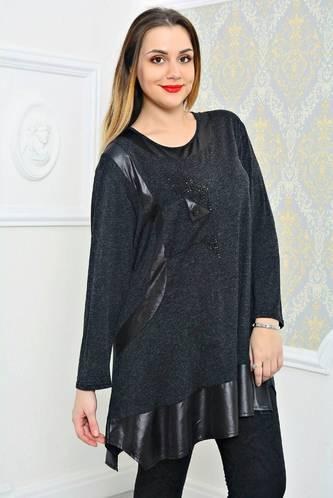 Туника удлиненная черная модная П9793