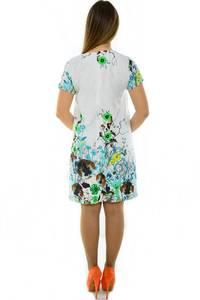 Платье-туника короткое с коротким рукавом белое Н3677