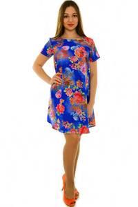 Платье-туника короткое с коротким рукавом синее Н3678