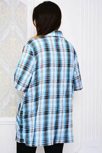 Рубашка синяя в клетку Р4106