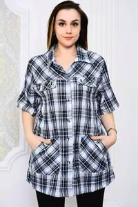 Рубашка в клетку с коротким рукавом Р4110