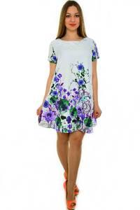 Платье-туника короткое с принтом белое Н3683
