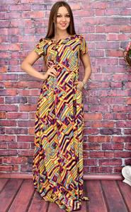 Платье длинное с принтом нарядное У7991