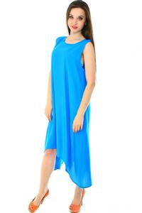 Платье длинное голубое однотонное Н7223