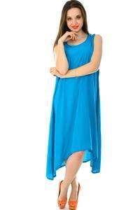 Платье длинное голубое однотонное Н7225