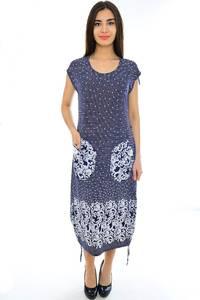 Платье длинное трикотажное синее Н2346