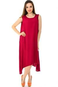 Платье длинное красное однотонное Н7229