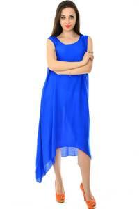 Платье длинное синее однотонное Н7232