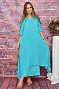 Платье длинное голубое У8004