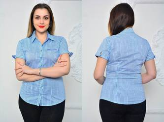 Рубашка синяя в клетку с длинным рукавом П9602