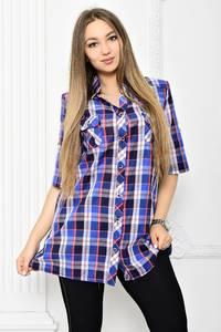 Рубашка в клетку с коротким рукавом Т2074