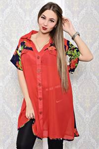 Рубашка удлиненная красная с принтом С8189
