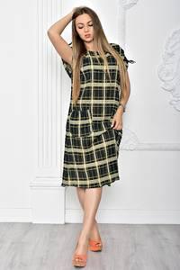 Платье длинное офисное черное Т2364