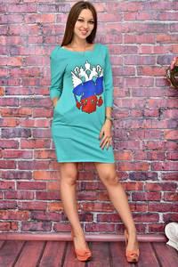 Платье короткое повседневное с принтом У8033