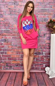 Платье короткое повседневное с принтом У8032
