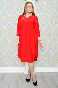 Платье длинное зимнее красное Р1294