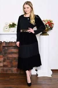 Платье длинное черное зимнее Р5338