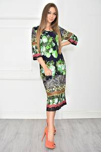 Платье короткое трикотажное с принтом У7711
