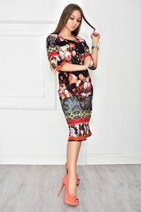 Платье короткое трикотажное с принтом У7712