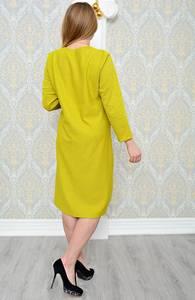 Платье длинное зимнее желтое Р1298